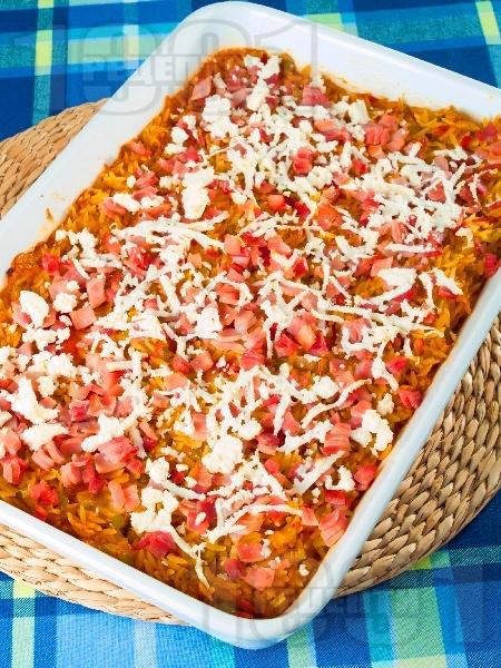 Паста Орзо с домати, шунка, зеленчуци и сирене Фета на фурна - снимка на рецептата